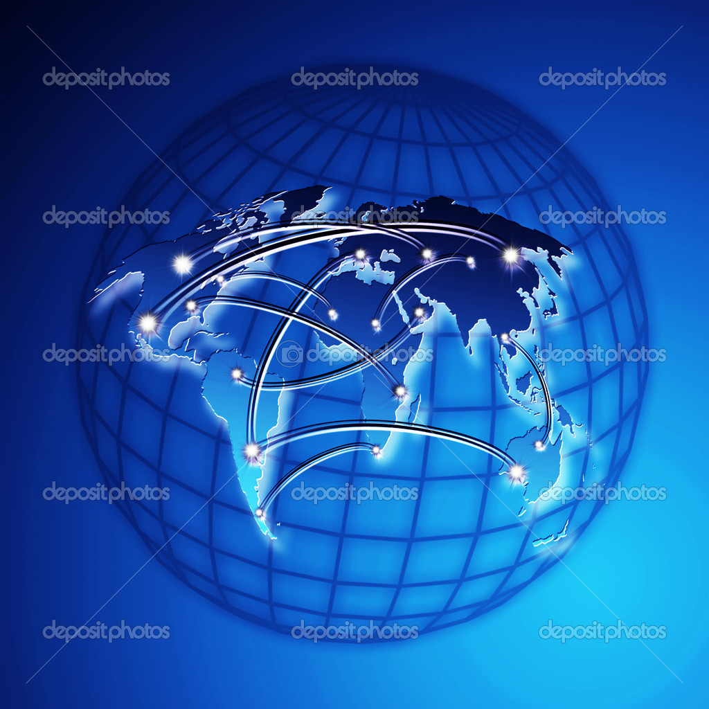 Blue world map internet concept — Stock Photo #8394139