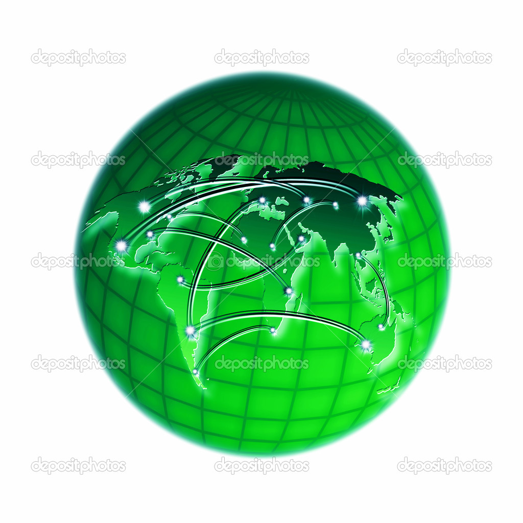 Green interinterconnected world — Stock Photo #8394153