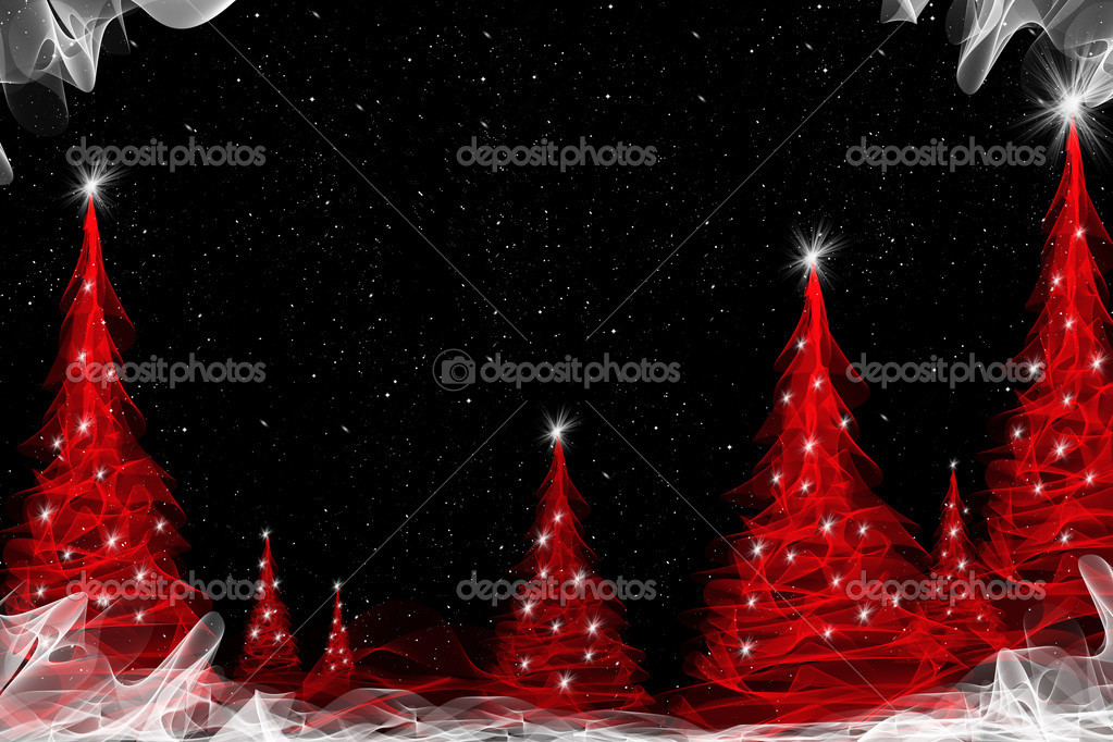 Red abstract background with christmas tree — Stock Photo #8394770