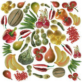 Colored fruit and vegetables background — Stock Photo