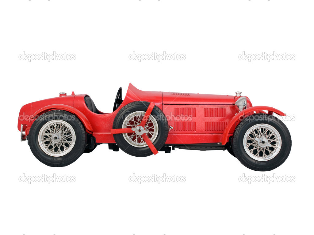 Red vintage car isolated on white background — Stock Photo #8538874