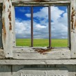 Old wood window with landscape — Stock Photo #8628076
