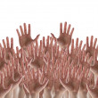 Hands crowd on white background — Stock Photo