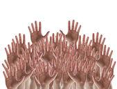 Folla di mani su sfondo bianco — Foto Stock