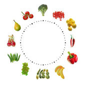 Fruit and vegetables clock — Stock Photo