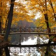 Fall autumn landscape with bridge and water - Lizenzfreies Foto