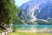 Lake Prags in the Dolomites Alps — Stock Photo