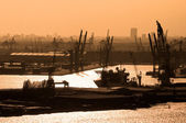 Rotterdam port at Netherland - orange monochr — Stock Photo