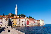 Houses and Belfry by seaside at Rovinj - Croatia — Stock Photo
