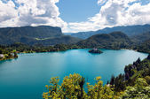 Bled Lake and mountains landcape in Slovenia — Stock Photo