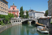 Tromostovje Ljublianica river and Church at Ljubljana - Slovenia — Stock Photo