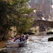 Stock Photo: Touristic boat on canals at Brugge - Belgium
