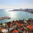 Split postcard Coast and port view from belfry - Croatia — Stock Photo