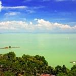 View of Balaton lake from Tihany abbey — Stock Photo