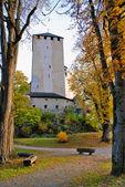 Autumn view of gardens and tower at Schloss Bruck - Lienz Austr — Stock Photo