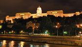 Night view of Royal Residence – Hungary Budapest — Stock fotografie
