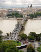Up View of Chain Bridge - Hungary Budapest — Stok fotoğraf