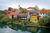 Novo Mesto riverside from bridge - Slovenia — Stock Photo