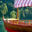 Wood Boat at Bled Lake — Stock fotografie