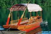 Wood Boat at Bled Lake — Stock Photo