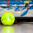 Stock Photo: Green bowling ball.