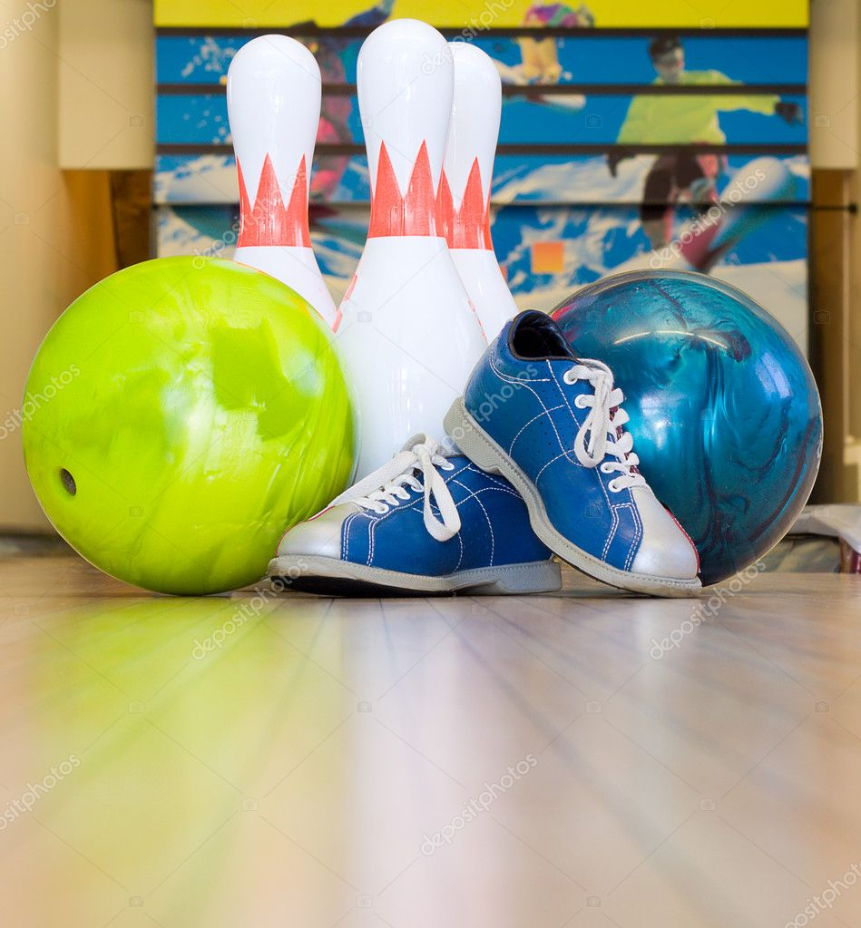 Bowling balls, shoes and pins — Stock Photo © electrojoint #8818751