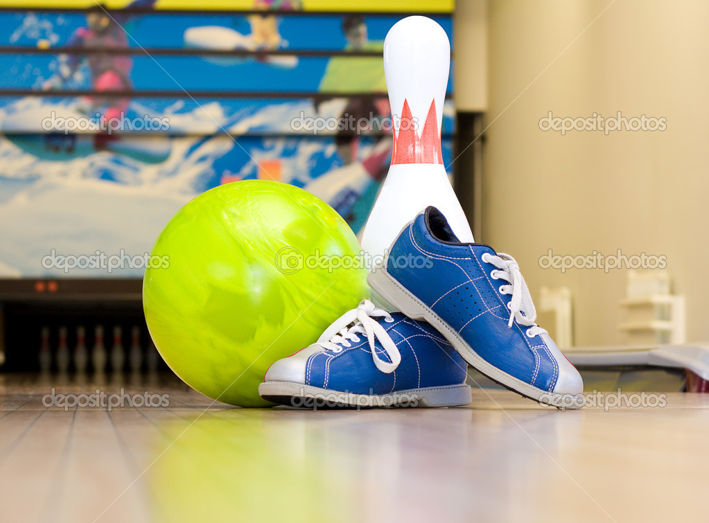 Bowling ball, shoes and pins — Stock Photo © electrojoint #8818794