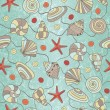 Seamless pattern with shells and starfish — Stock Vector