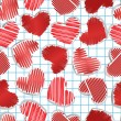 Royalty-Free Stock Vector Image: Paper hearts on squared paper