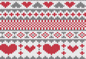 Knitted pattern vector with hearts — Stock Vector
