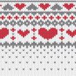 Knitted pattern vector with hearts — Stok Vektör