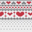 Knitted pattern vector with hearts — Imagen vectorial