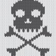 Knitted background with skull — Stock Vector