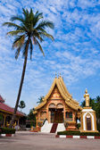 Golden Buddhist temple with the palm — Stock Photo