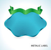 Metalic blue label — Stock Vector