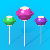 3d colorful sweet lollipops — Stock Vector