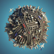 Miniature chaotic urban planet isolated — Stock Photo #8159525