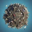 Miniature chaotic urban planet isolated - Stock Photo
