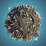 miniatura caótico urbano planeta isolada — Foto Stock