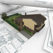 Architectural drawings and house_2 — Stock Photo
