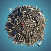 Miniatuur chaotische stedelijke planeet geïsoleerd — Stockfoto
