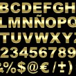 3d brushed gold alphabet isolated — Stock fotografie