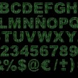 3d matrix green code alphabet isolated - Stock Photo