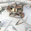 Architect drawing table with section model — Stockfoto #8197944