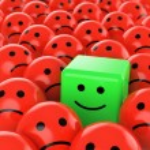 Green cube smiley happy — Stock Photo
