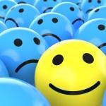 Постер, плакат: Close up happy smiley beteen sad ones