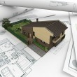 Stock Photo: Architectural drawings and house_2