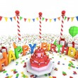 Cartton like birthday party illustration - Stock Photo