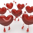 Happy hearts series, many red hearts jumping to be choosen among - Stock Photo