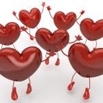 Happy hearts series, many red hearts jumping to be choosen among — Stock Photo #8198446